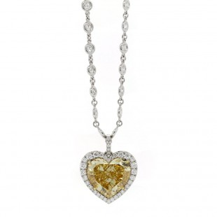 Fancy Yellow Diamond Heart Halo Pendant