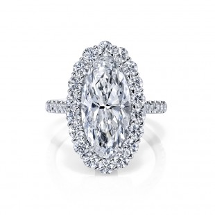 M'Oval Diamond Halo Engagement Ring