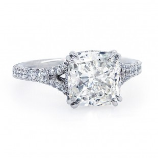 Cushion Cut Diamond Split Shank Engagement Ring