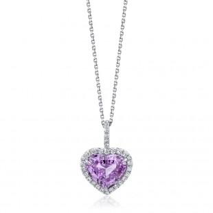 Violet Sapphire Heart Pendant
