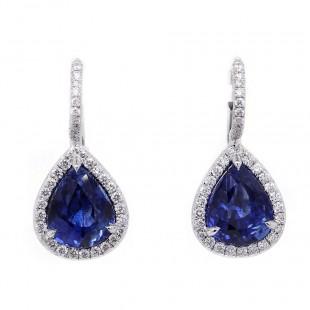 Pear Shape Sapphire Halo Earrings