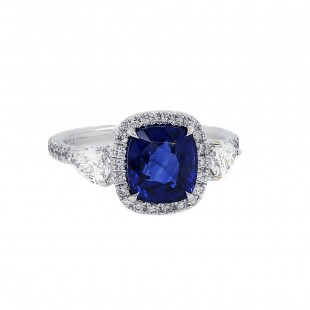 Cushion Sapphire Pear Diamond Engagement Ring