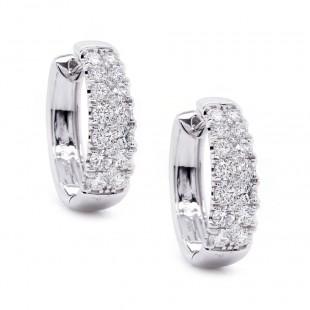 Two Row Pave Diamond Hoop Earrings