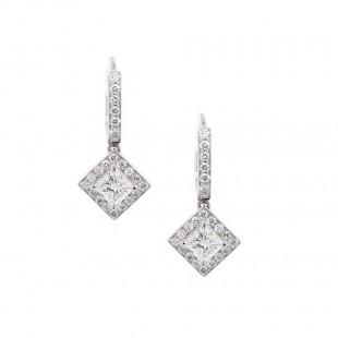 Princess Cut Diamond Halo Drop Earrings