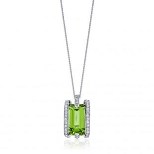 Peridot Pendant with Diamonds