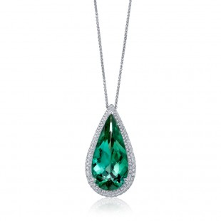 Pear Green Tourmaline Pendant