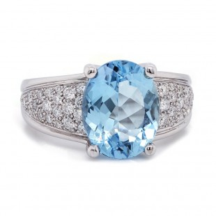 Aquamarine Tapered Pave Ring