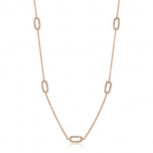 Rose Gold Diamond Link Necklace