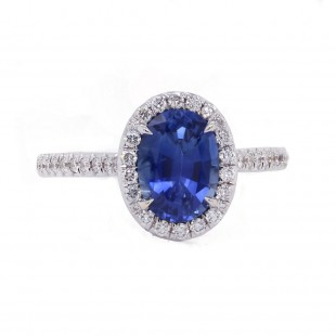 Oval Blue Sapphire Halo Ring
