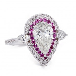 Pear Diamond Engagement Ring with Pink Sapphire Halo