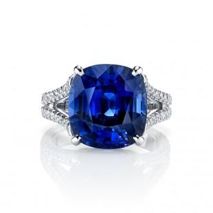 Unheated Sapphire Split Shank Ring