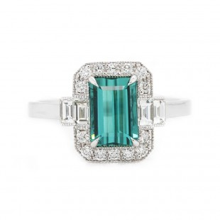 Tourmaline Art Deco Inspired Ring