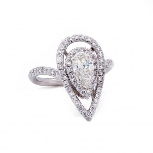 Pear Diamond Open Double Halo Ring