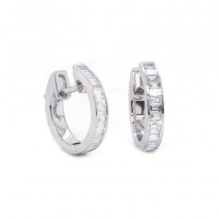 White Gold Diamond Channel Set Hoops