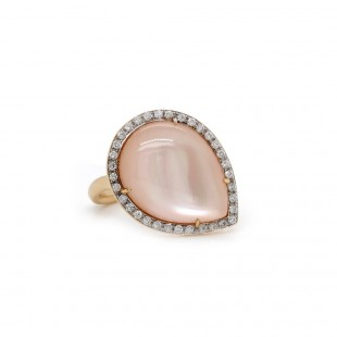 Rose Gold Pink Mother of Pearl Halo Ring