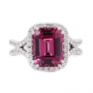 Raspberry Spinel Halo Ring