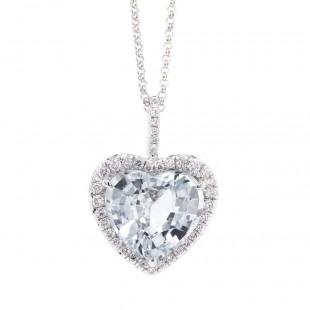 Ice Blue Heart Sapphire Halo Pendant