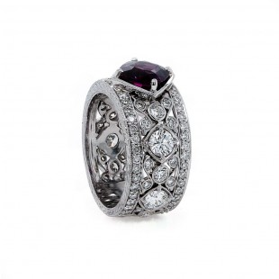 Purple Sapphire Scroll Work Diamond Band