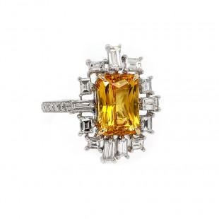 Golden Sapphire Art Deco Inspired Ring