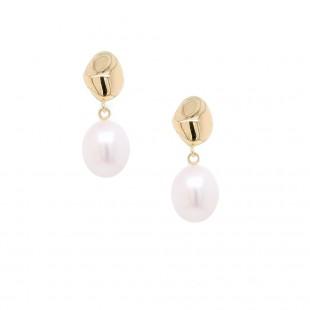 Yellow Gold Pearl Drop Earrings