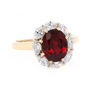Ruby Ring with Marquise Diamond Halo