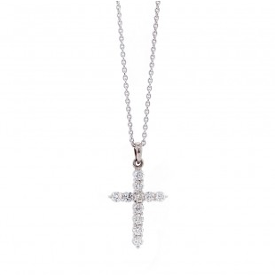 White Gold Diamond Cross Neckalce .50 ct twt