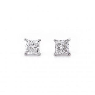 Princess Cut Diamond Stud Earrings 1.02 t.c.w.