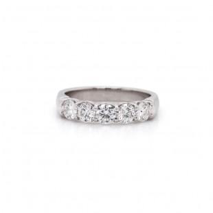 Platinum Shared Prong Five Diamond Band 1 Ct TWT