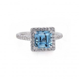 Asscher Cut Aquamarine Halo Ring