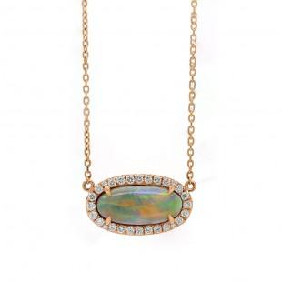 Black Opal Rose Gold Diamond Pendant