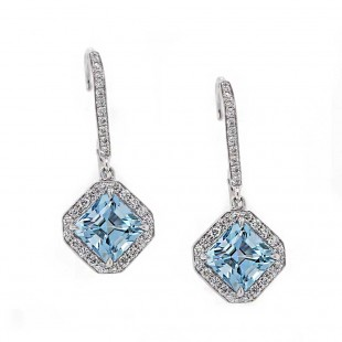 Geometric Style Asscher Cut Aquamarine Drop Earrings