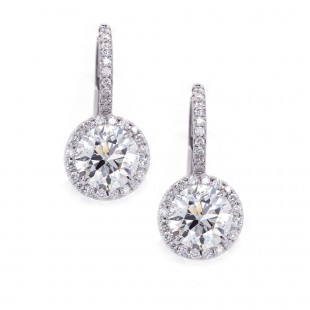 Diamond Halo Drop Earrings 2ct