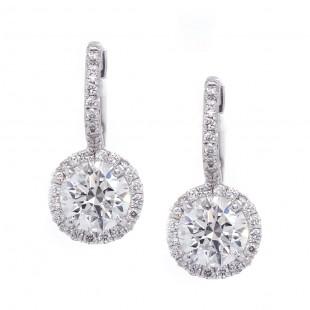 Diamond Halo Drop Earrings 1.4 ct
