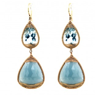 Dana Kellin Yellow Gold Sapphire and Aquamarine Earrings