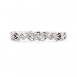 Diamond Open Leaf Ring