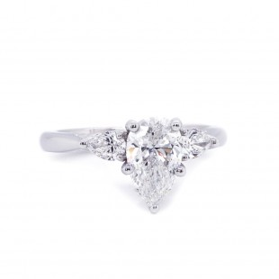 Pear Shape Three Stone Diamond Engagement Ring