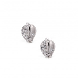 White Gold Pave Leaf Earrings