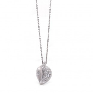 White Gold Diamond Pave Leaf Pendant