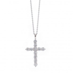 White Gold Diamond Cross Necklace 1.05 ct twt