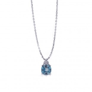 Cushion Cut Blue Zircon Pendant
