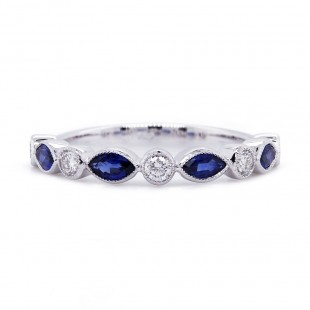 Bezel Sapphire and Diamond Alternating Band