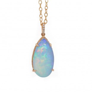 Crystal Opal Pear Pendant in Rose Gold