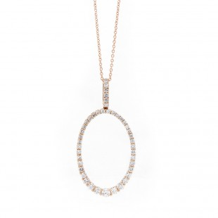 Rose Gold Open Oval Diamond Pendant