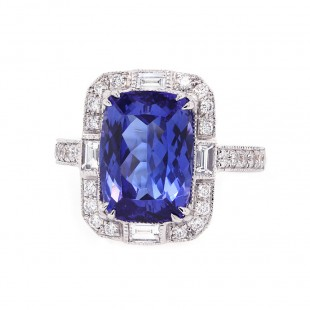 Tanzanite Art Deco Style Ring
