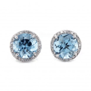 Aquamarine Halo Stud Earrings
