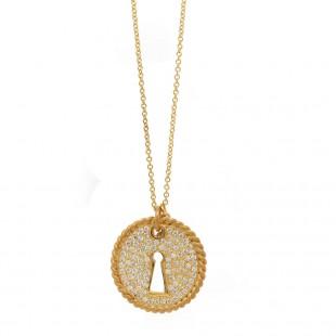 "Marika Yellow Gold and Diamond ""Key-Hole"" Pendant"