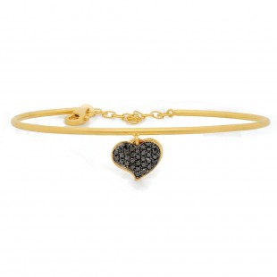 Marika Black Diamond Heart Cuff Bracelet