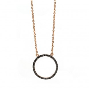 Black Diamond Pave Circle Necklace
