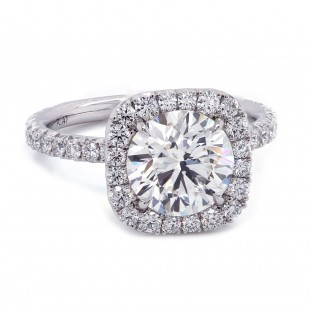 Round Diamond Cushion Halo Engagement Ring