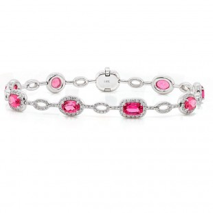 Pink Spinel and Diamond Halo Bracelet